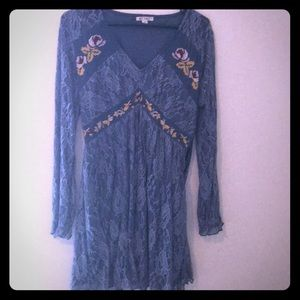 Blue lace dress with floral pattern